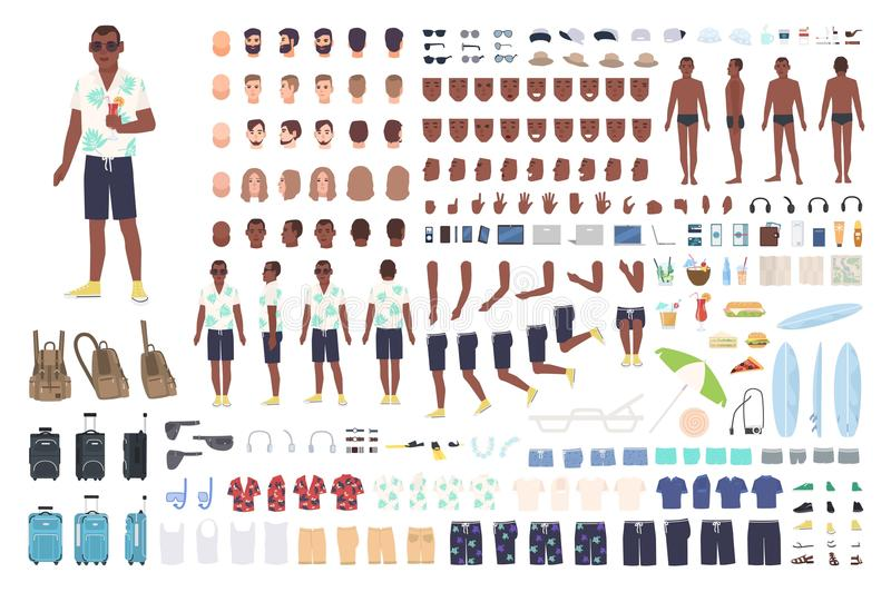 Kerel op vakantieanimatie of DIY-uitrusting Inzameling van de mannelijke elementen van het toeristenlichaam, gebaren, kleren, toe stock illustratie