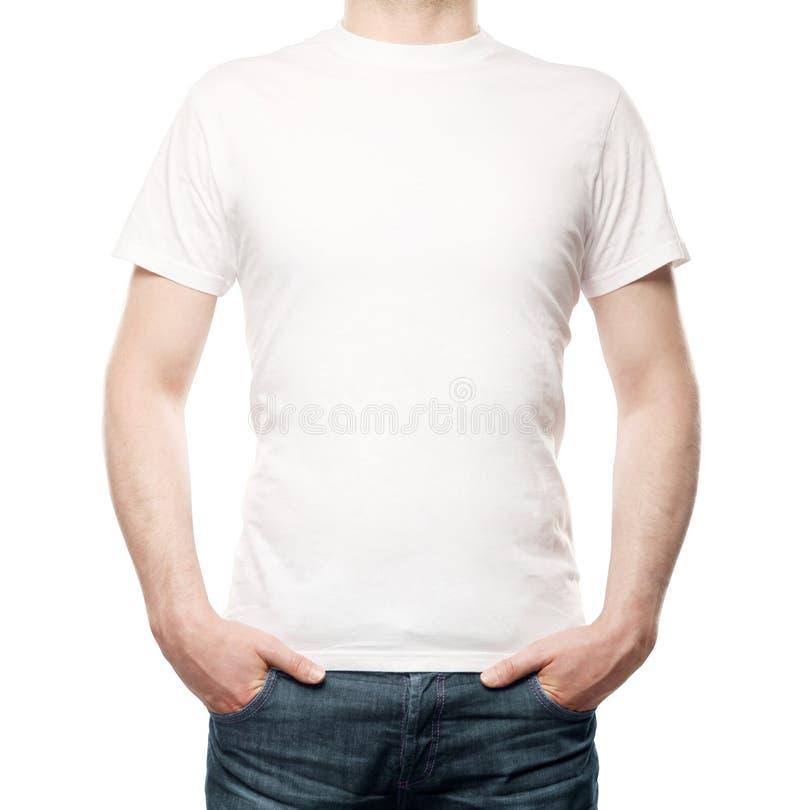 Kerel in T-shirt stock afbeeldingen