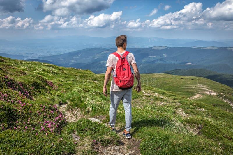 Kerelmens met rugzak verloren de stijgings buiten reis van de bergenzomer stock afbeelding