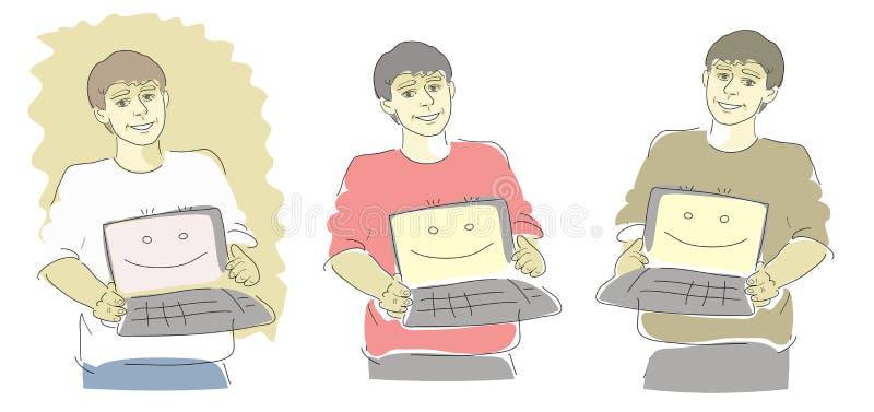 Kerels met herstelde computers vector illustratie