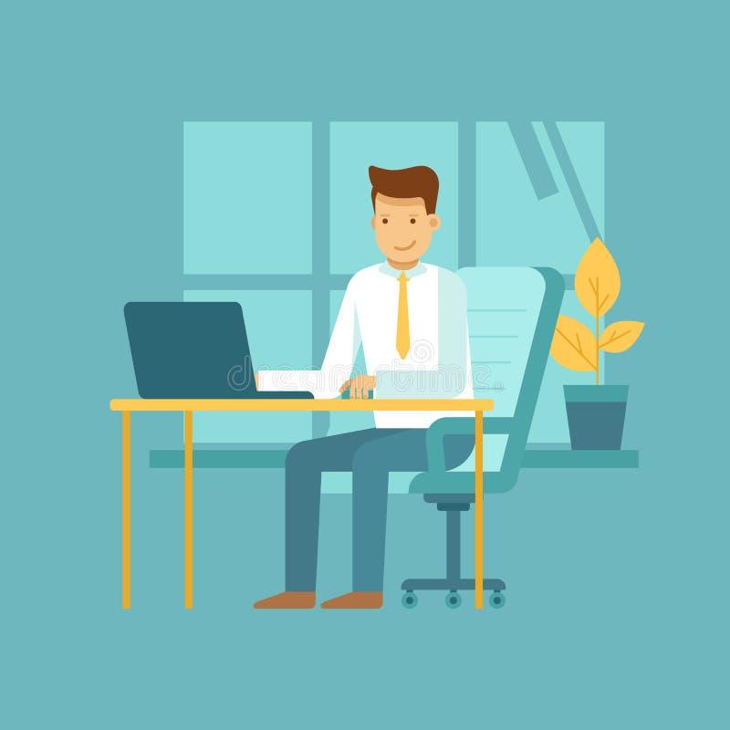 Kerelzitting bij het bureau met laptop - freelance het werkconcept vector illustratie