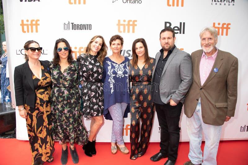 Kerianne Flynn, Maria Geise, Ilan Arboleda e Tom Donahue al prima di ` questo cambia tutto ` a TIFF2018 fotografia stock libera da diritti