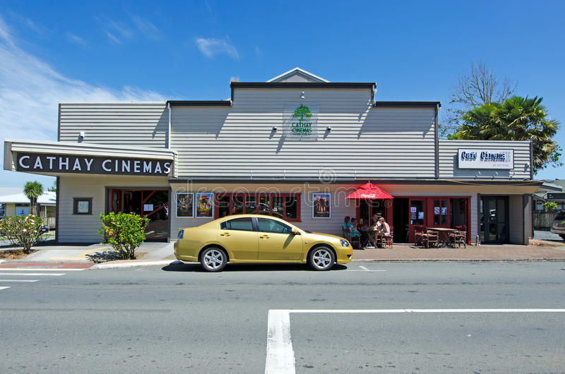 Kerikeri - Northland New Zealand. KERIKERI, NZ - DEC 22:Cathay Cinemas and cafe on Dec 22 2013. It's the largest town in Northland NZ and it has some of the most royalty free stock photos