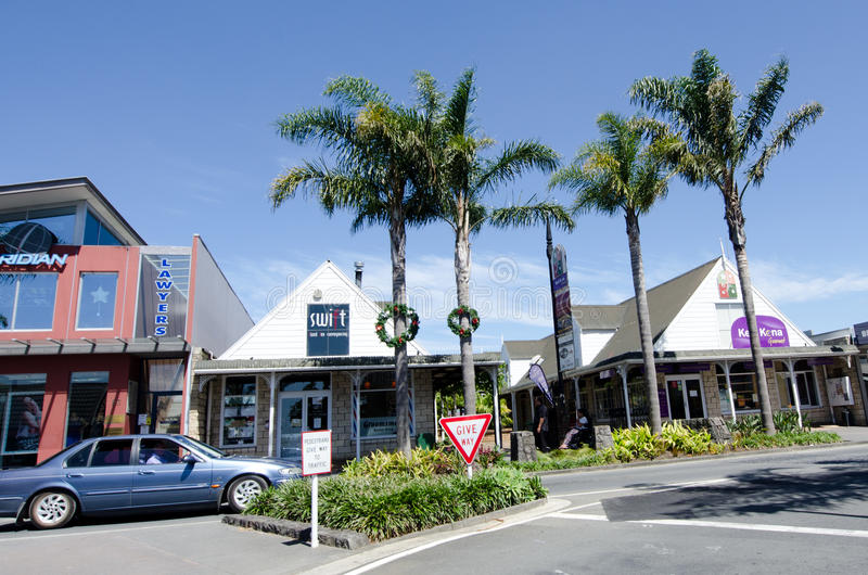 Kerikeri - Northland New Zealand. KERIKERI, NZ - DEC 22:Kerikeri main street on Dec 22 2013. It's the largest town in Northland NZ and it has some of the most royalty free stock photos