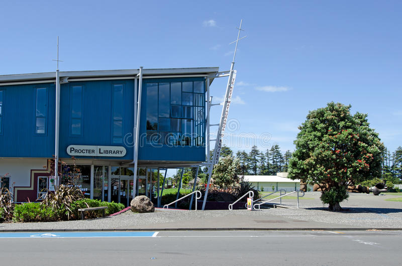 Kerikeri - Northland New Zealand. KERIKERI, NZ - DEC 22:Proctor library on Dec 22 2013. It's the largest town in Northland NZ and it has some of the most royalty free stock photos