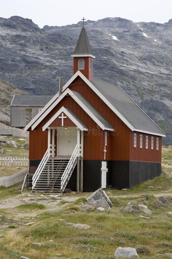 Kerk in Appilatoq, Groenland stock afbeeldingen