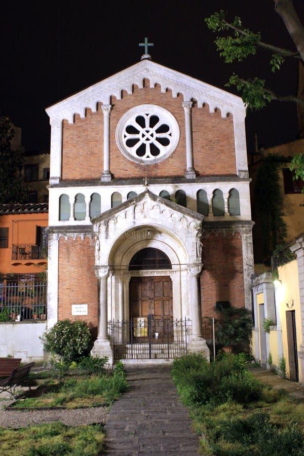 Kerk bij nacht Florence Italy royalty-vrije stock foto