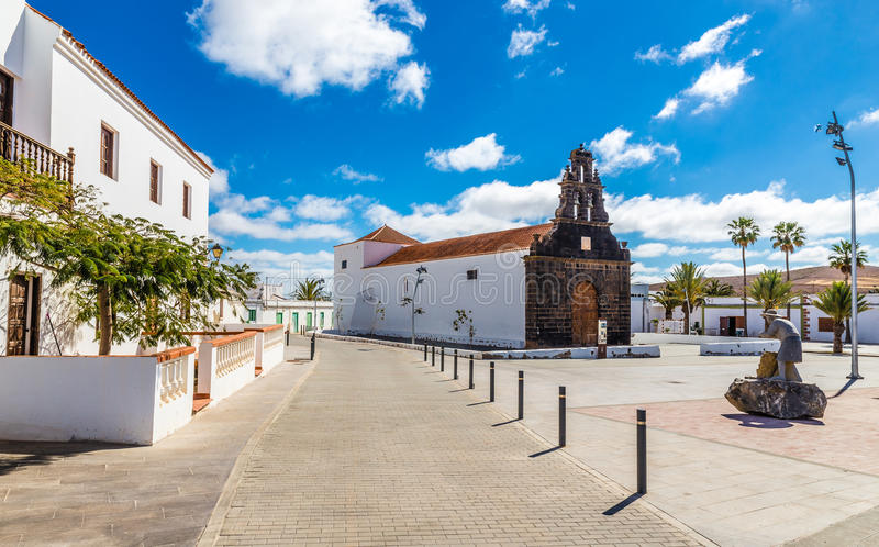 Kerk in Casillas Del Angel, Fuerteventura, Spanje stock afbeelding