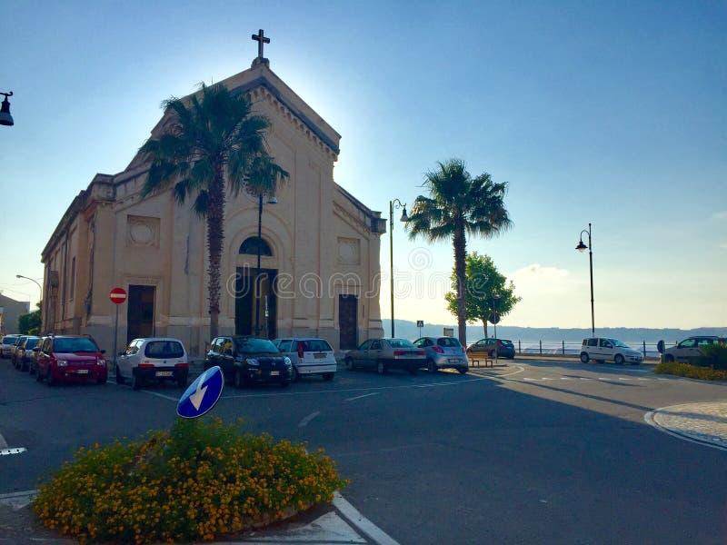 Kerk Chiesa Cannitello Di Villa San Giovanni stock afbeeldingen