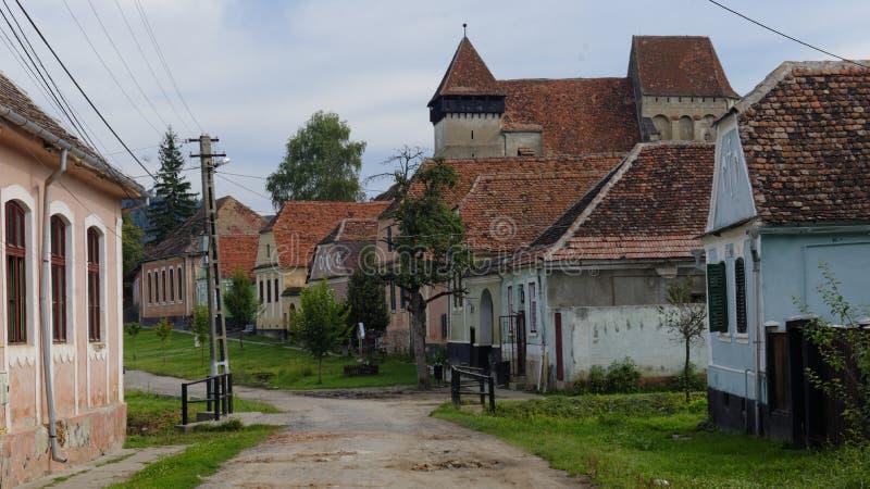 Kerk in Copsa-Merrie, Transsylvanië, Roemenië royalty-vrije stock afbeelding