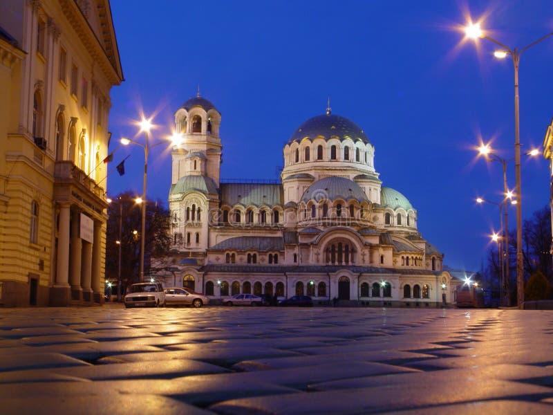 Kerk in de avond royalty-vrije stock afbeeldingen