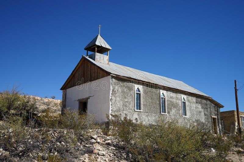 Kerk in de spookstad van terlingua Texas de V.S. royalty-vrije stock fotografie