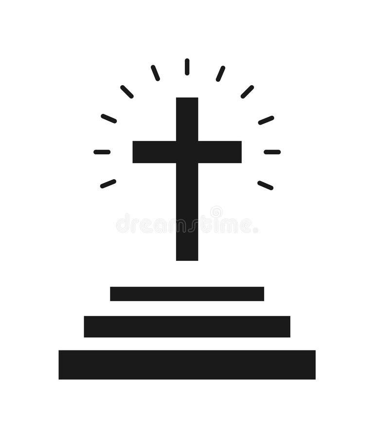 Kerk dwarspictogram royalty-vrije illustratie