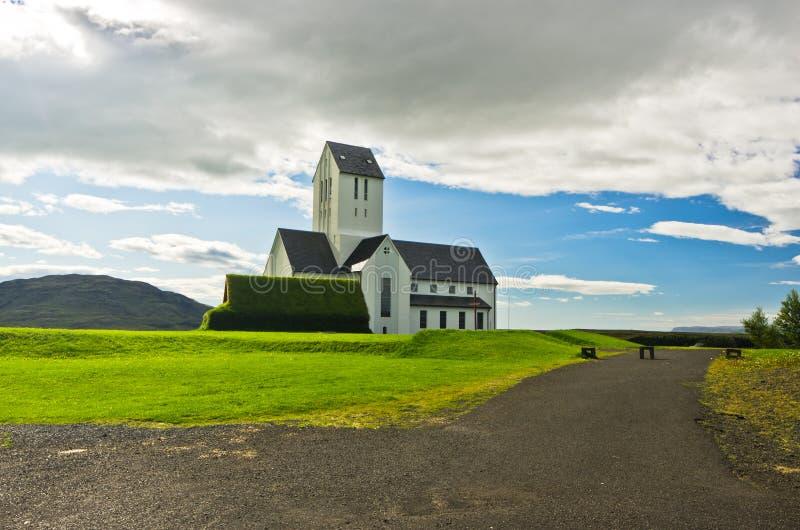 Kerk en kerkhof bij Skalholt-klooster, IJsland royalty-vrije stock fotografie