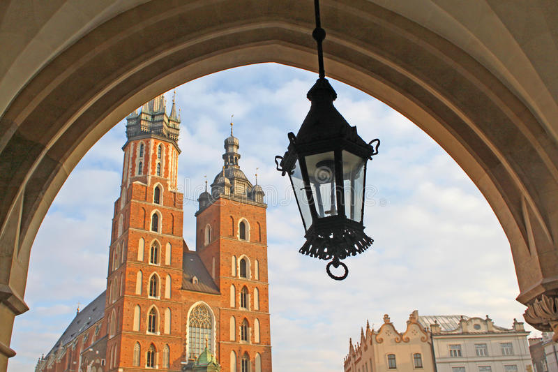 Kerk en lantaarn, Krakau royalty-vrije stock foto's