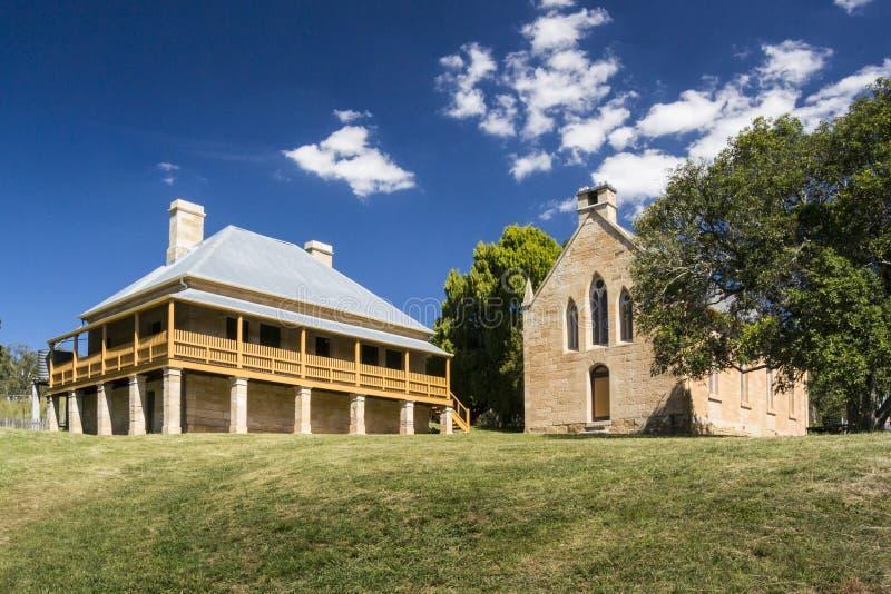 Kerk en Pastorie in de Historische Stad van Hartley, Australië stock fotografie