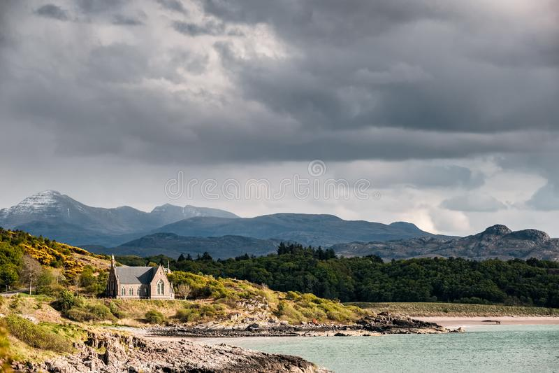 Kerk in Gairloch in Hooglanden van Schotland royalty-vrije stock foto