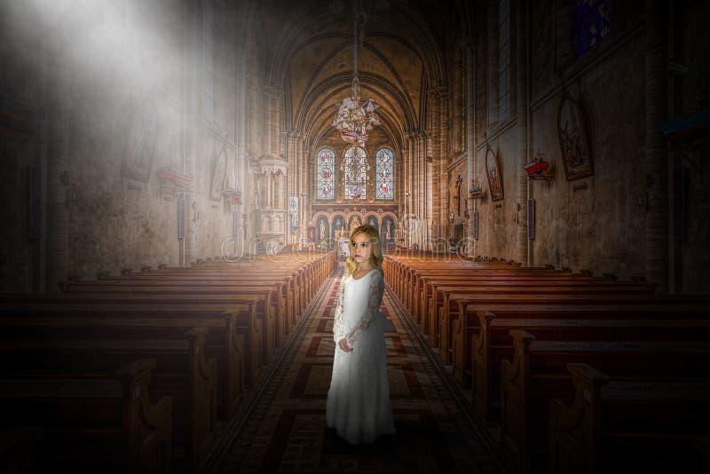 Kerk, Godsdienst, Christen, Godsdienstig Christendom, Meisje royalty-vrije stock afbeelding