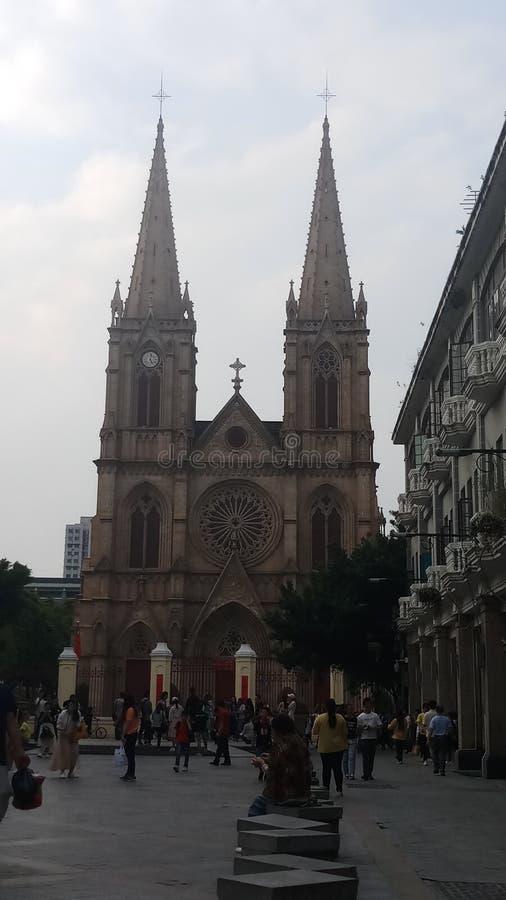 Kerk in Guangzhou & x28; China & x29; Ontwerp door leonvautrin royalty-vrije stock foto's