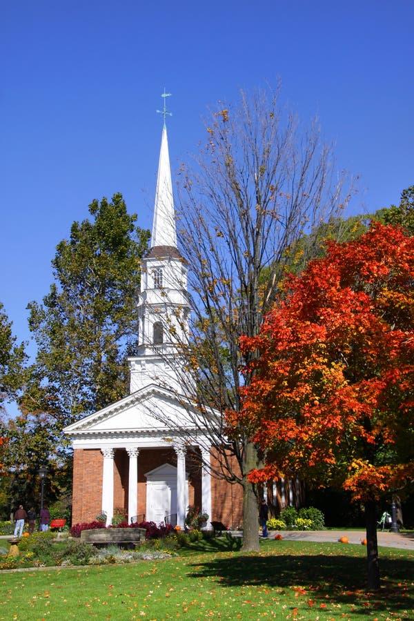 Kerk in het dorp van Greenfield stock foto