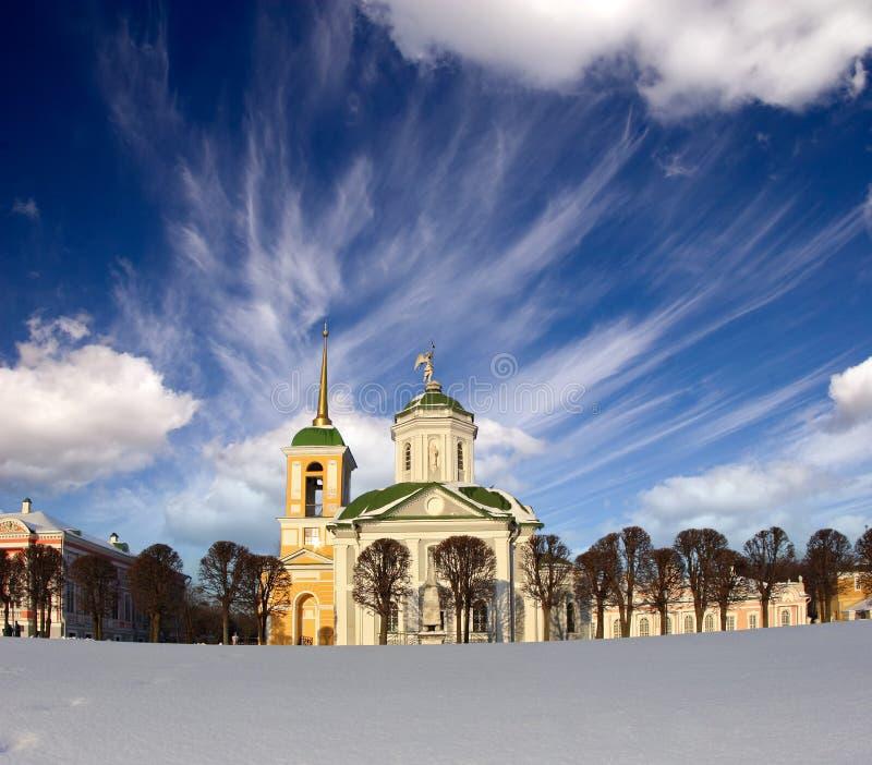 Kerk in landgoed Kuskovo stock fotografie