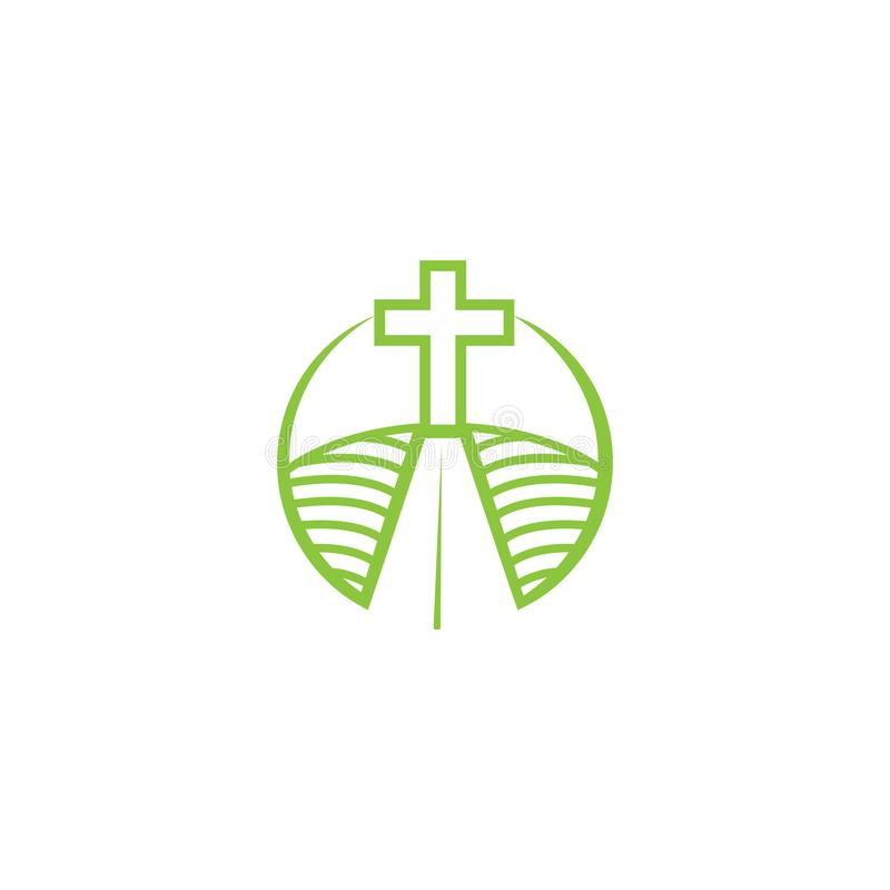 Kerk logotype in cirkel Doopsgezind kruis in bergembleem vector illustratie