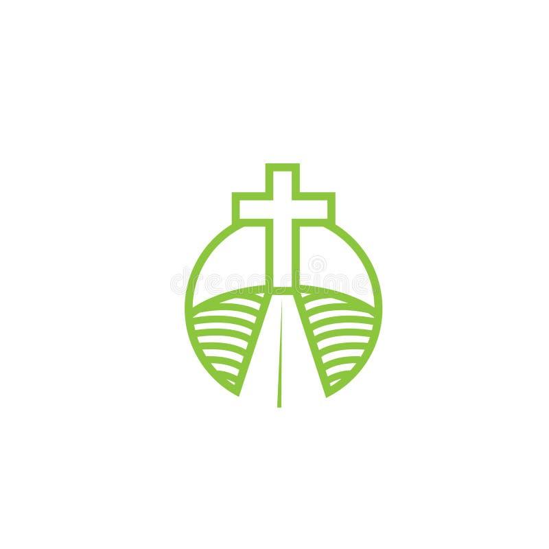 Kerk logotype in cirkel Doopsgezind kruis in bergembleem stock illustratie
