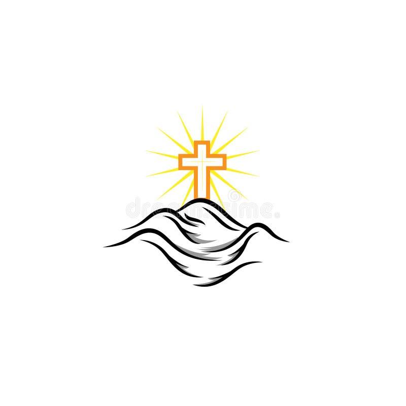 Kerk logotype in cirkel Doopsgezind kruis in bergembleem royalty-vrije illustratie