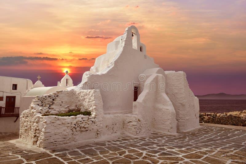 Kerk in Mykonos, Griekenland stock foto's