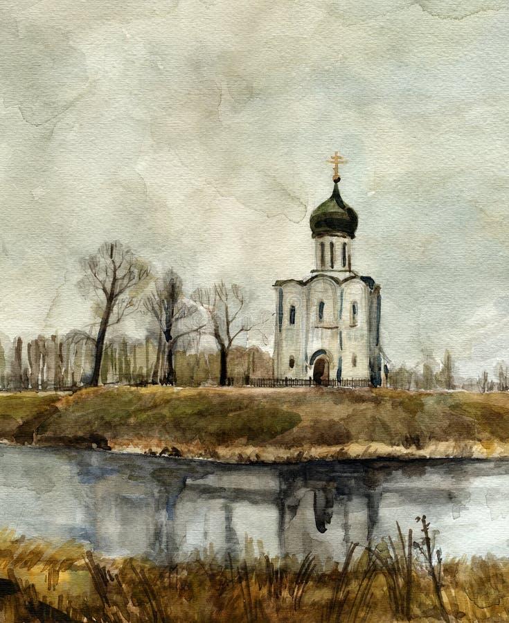 Kerk op Nerl. Waterverf. vector illustratie
