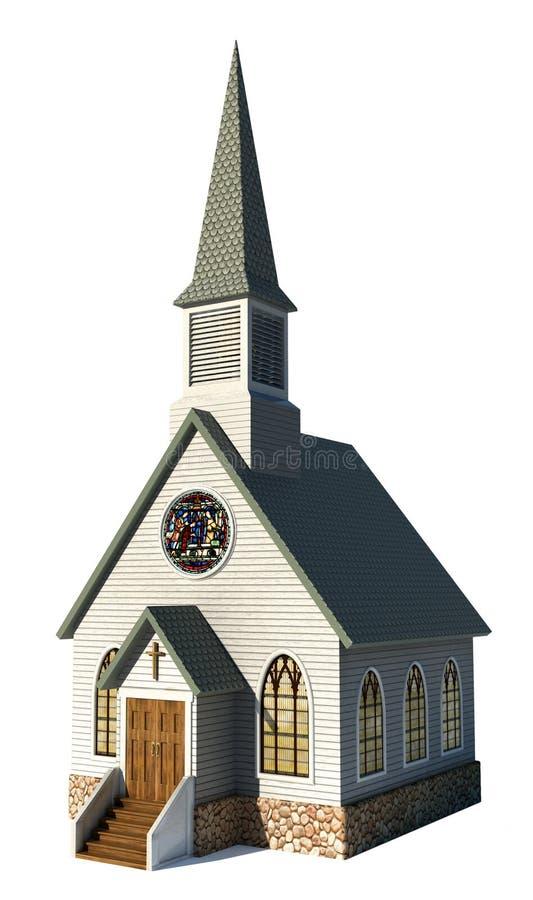 Kerk Op Wit Stock Afbeeldingen