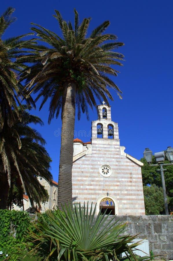 Kerk in Oude Stad Budva, Montenegro royalty-vrije stock fotografie