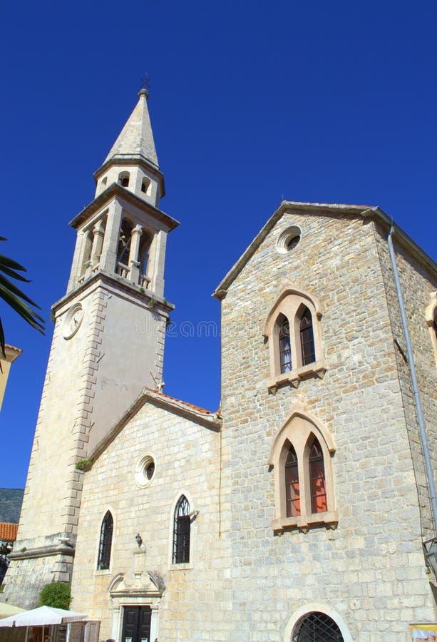 Kerk in Oude Stad Budva, Montenegro stock fotografie