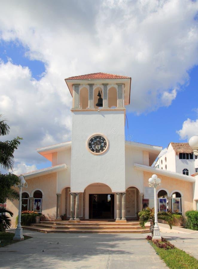Kerk Puerto Morelos Mexico Mayan Riviera royalty-vrije stock afbeeldingen