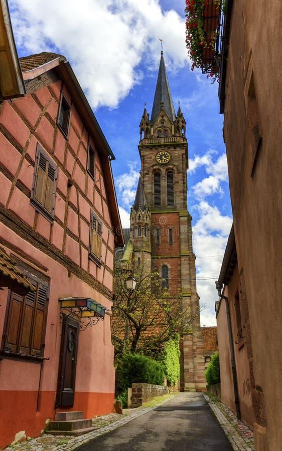 Kerk Saint-Etienne in dambach-La, de Elzas, Frankrijk royalty-vrije stock foto