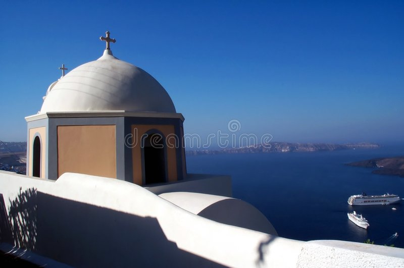 Kerk In Santorini 2 Stock Foto's