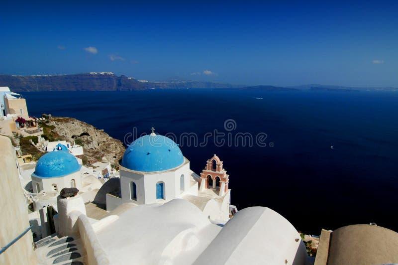 Kerk in Santorini, Griekenland.   stock foto