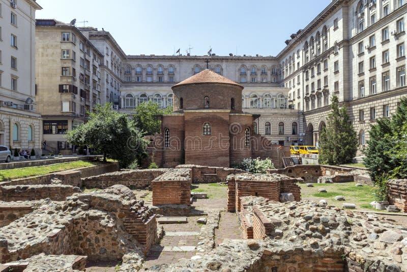 Kerk St George Rotunda binnen in Sofia, Bulgarije royalty-vrije stock foto