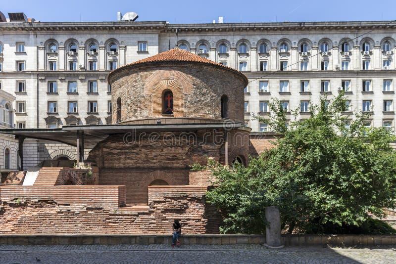 Kerk St George Rotunda binnen in Sofia, Bulgarije stock foto's