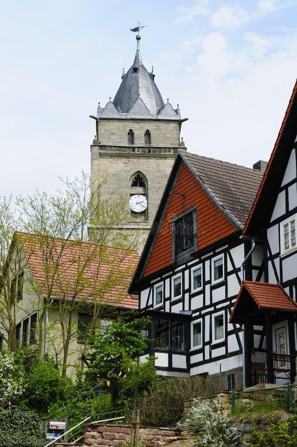 Kerk, Stad van Wolfhagen, Duitsland stock afbeelding