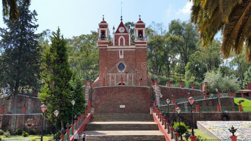 Kerk van Calvary in Metepec, Toluca, Mexico stock afbeeldingen