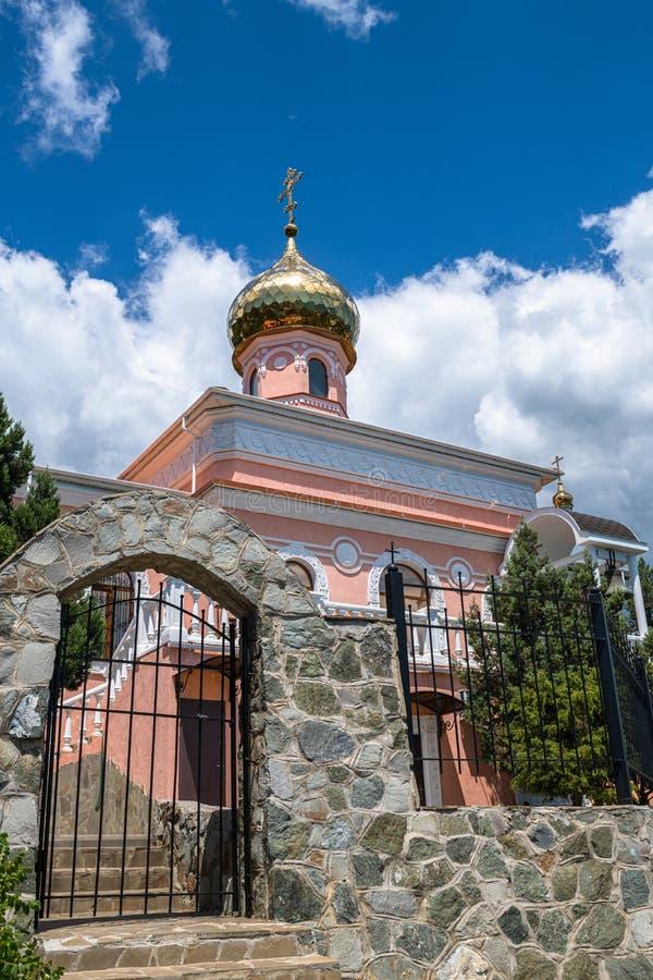 Kerk van de cover van de blote maagd in Simeiz op de Krim stock afbeelding