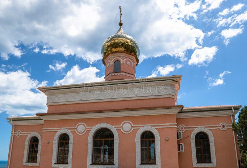 Kerk van de cover van de blote maagd in Simeiz op de Krim royalty-vrije stock fotografie