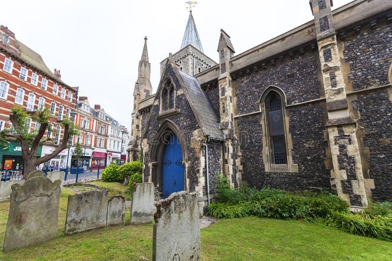 Kerk van de de 12de eeuw de Roemeense stijl van St Mary Virgin, Dover, het Verenigd Koninkrijk royalty-vrije stock foto's
