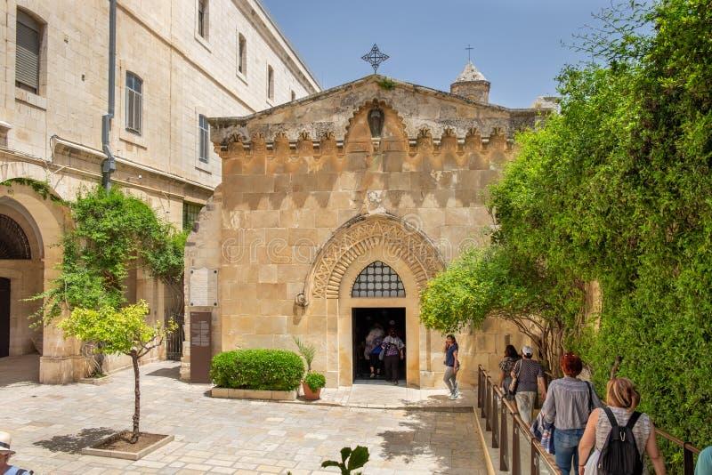 Kerk van de Flagellatie, die in het Moslimkwart van de Oude Stad van Jeruzalem, Israël wordt gevestigd stock fotografie