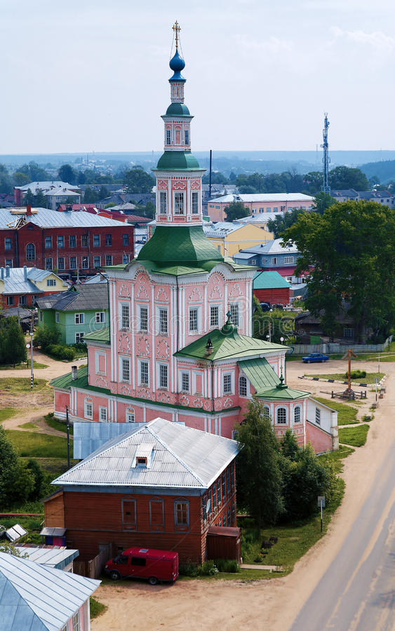 Kerk van de Geboorte van Christus in Totma, Rusland stock foto