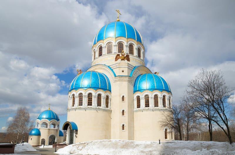 Kerk van de Heilige Drievuldigheid in orekhovo-Borisovo, Moskou, Rusland stock foto's