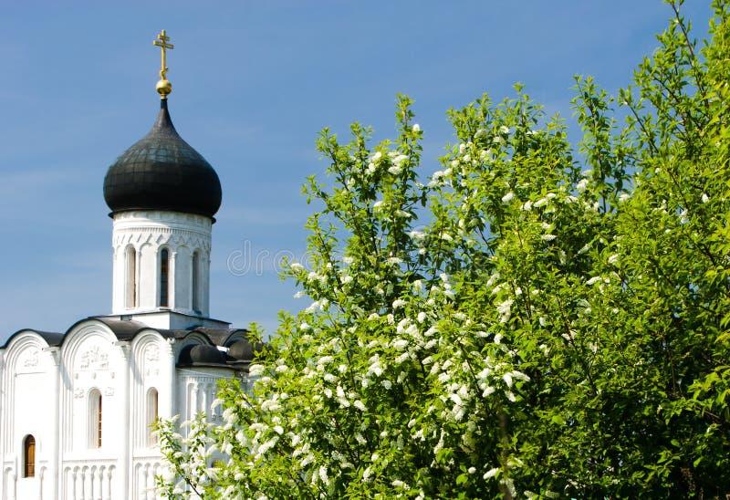Kerk van de Interventie op Nerl stock afbeelding