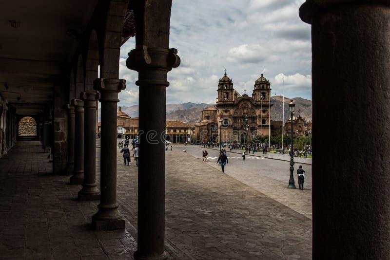 Kerk van de Maatschappij van Jesus in Plaza DE Armas in Cusco, Peru stock afbeelding