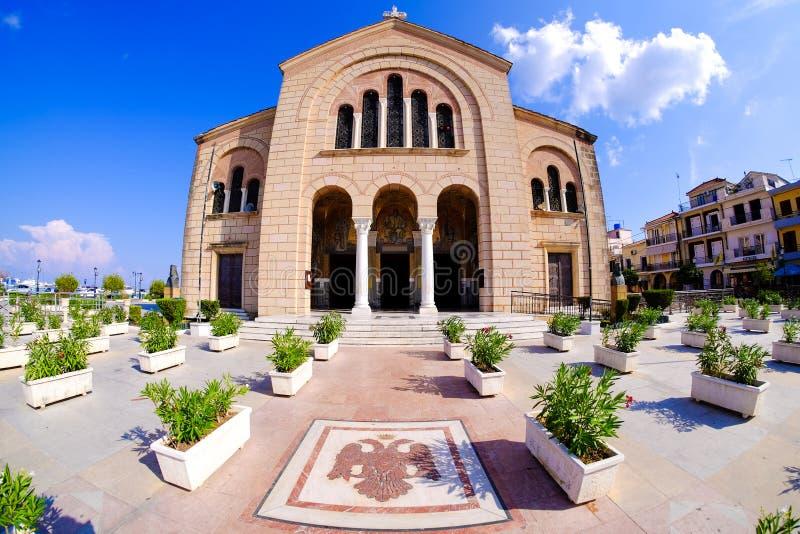 Kerk van de stads de centrale parc van Zakynthos Zantestad stock afbeeldingen